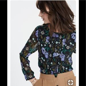 Banana Republic Black floral blouse top XS BNWOT